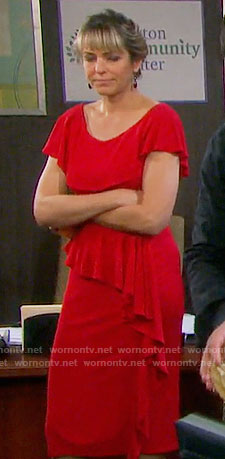 Nicole's red ruffled dress on Days of our Lives