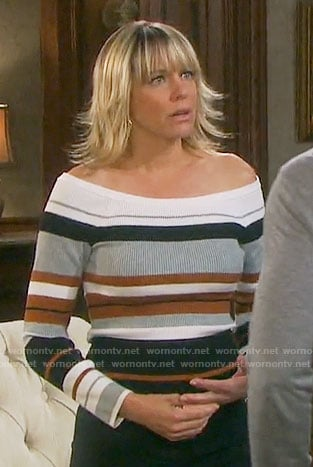 Nicole's striped off-shoulder sweater on Days of our Lives