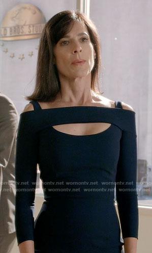Nina's navy cutout sheath dress on Famous in Love