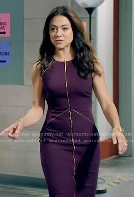 Nina's purple sheath dress with gold trim on Daytime Divas