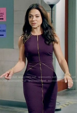 Nina's purple sheath dress with gold piping on Daytime Divas