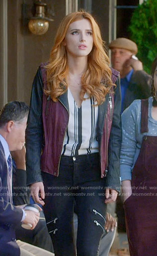 Paige's purple and black leather jacket and striped top on Famous in Love