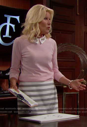 Pam's pink sweater with embellished collar and striped skirt on The Bold and the Beautiful