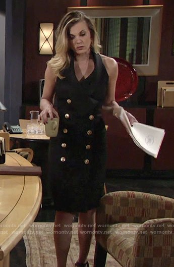 Phyllis's black double breasted dress on The Young and the Restless
