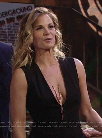 Phyllis's black plunge neck dress and necklace on The Young and the Restless