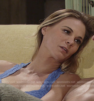 Phyllis's blue lace bralette on The Young and the Restless