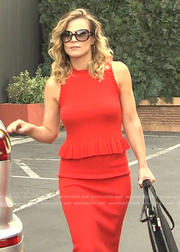 Phyllis's red ruffle trim top and skirt on The Young and the Restless