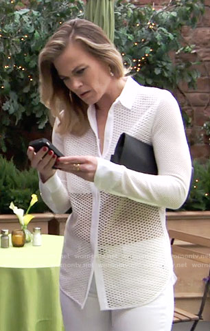 Phyllis's white perforated shirt on The Young and the Restless