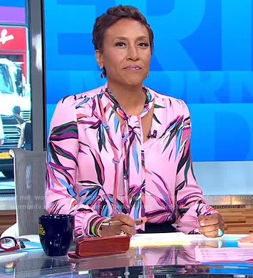 Robin's pink bamboo print tie neck blouse and black pants on Good Morning America