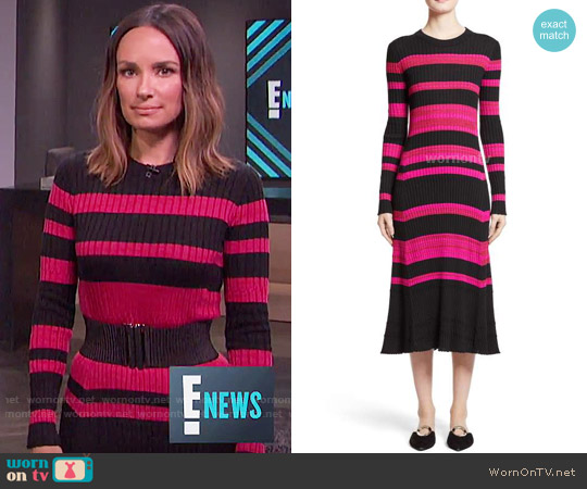 Proenza Schouler Stripe Cashmere, Wool & Silk Midi Dress worn by Catt Sadler on E! News