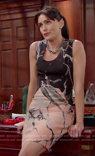 Quinn's marbled print dress on The Bold and the Beautiful