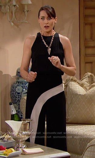 Quinn's black jumpsuit with white stripe on The Bold and the Beautiful
