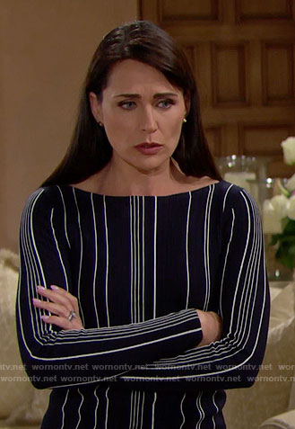 Quinn's black vertical striped sweater on The Bold and the Beautiful