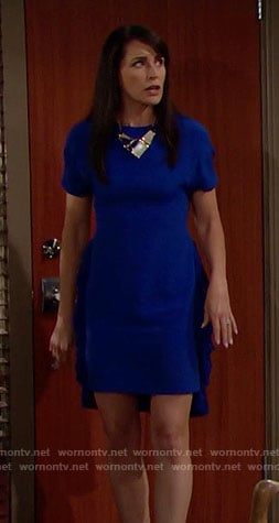 Quinn's blue dress with ruffled sides on The Bold and the Beautiful
