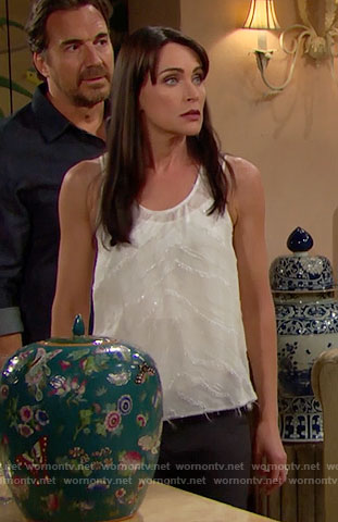 Quinn's sheer white zebra stripe tank top on The Bold and the Beautiful