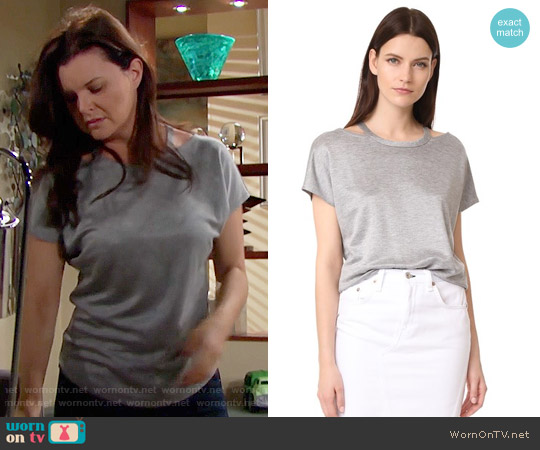 Rag & Bone Cutout Tee worn by Heather Tom on The Bold & the Beautiful