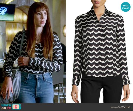 Rag & Bone Faye Chevron Shirt worn by Spencer Hastings (Troian Bellisario) on PLL