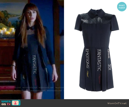 RED Valentino Sheer Panel Pleated Dress worn by Troian Bellisario on PLL