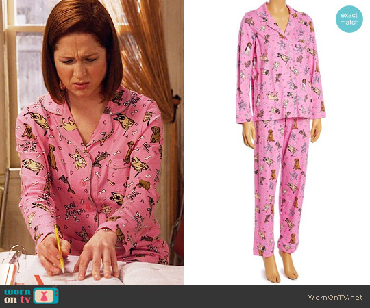 Rene Rofe Pink Dogs Button-Up Pajama Set worn by Kimmy Schmidt (Ellie Kemper) on Unbreakable Kimmy Schmidt