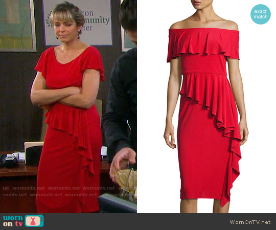 Rickie Freeman for Teri Jon Off-the-Shoulder Draped Jersey Sheath Dress worn by Arianne Zucker on Days of our Lives