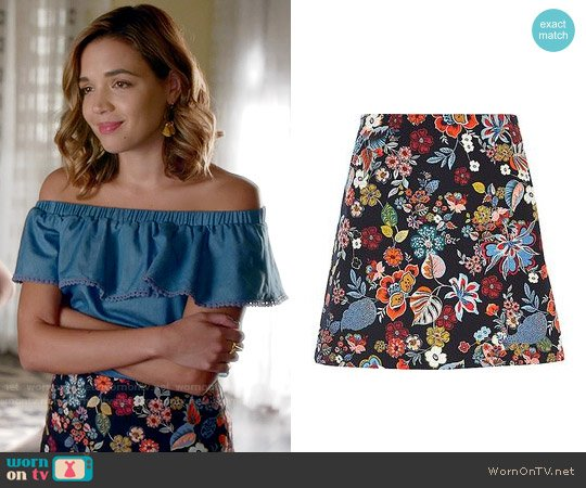 River Island Floral Print Mini Skirt worn by Georgie Flores on Famous in Love