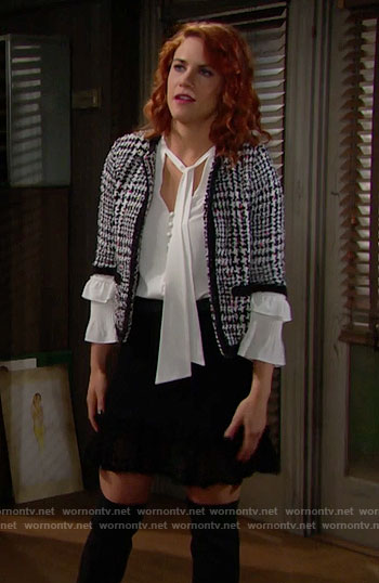 Sally's houndstooth jacket and white ruffled blouse on The Bold and the Beautiful