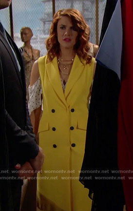 Sally's yellow sleeveless trench jacket and polka dot top on The Bold and the Beautiful
