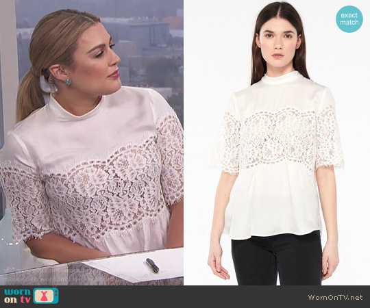 Sandro Top With High Collar And Lace Inset worn by Carissa Loethen Culiner on E! News