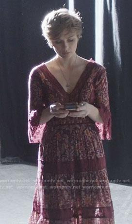 Scarlett's purple floral v-neck maxi dress on Nashville