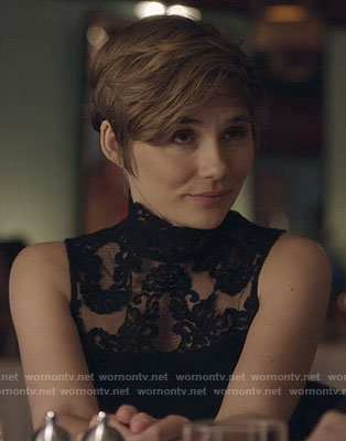 Scarlett's black lace mock-neck top on Nashville