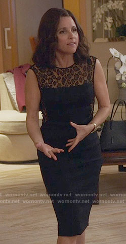 Selina's black leopard lace dress on Veep