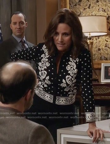 Selina's black and white floral cardigan on Veep