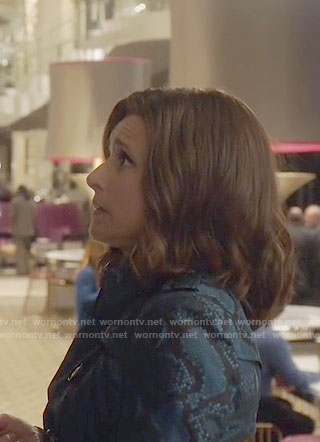 Selina's blue snake print trench coat on Veep