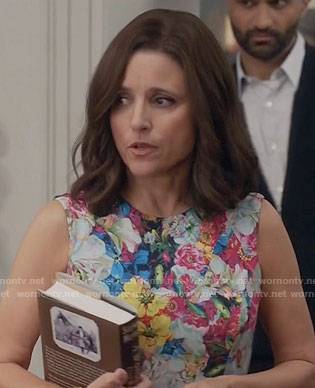 Selina's floral sleeveless dress on Veep
