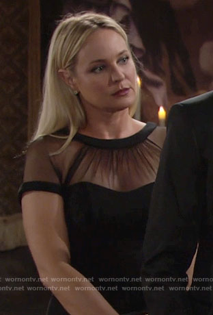 Sharon's black illusion dress on The Young and the Restless