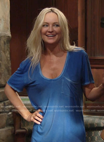 Sharon's blue pajama t-shirt on The Young and the Restless