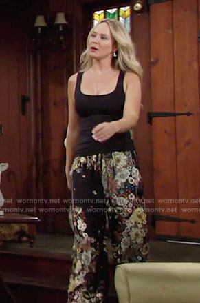 Sharon's floral wide leg pants on The Young and the Restless