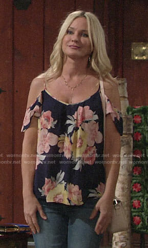 Sharon's floral off shoulder top on The Young and the Restless