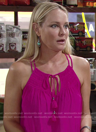 Sharon's pink tassel tie top on The Young and the Restless