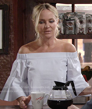 Sharon's striped off-shoulder bell-sleeve top on The Young and the Restless