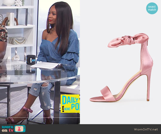 SheIn Side Bow Satin Ankle Strap Heels worn by Zuri Hall on E! News