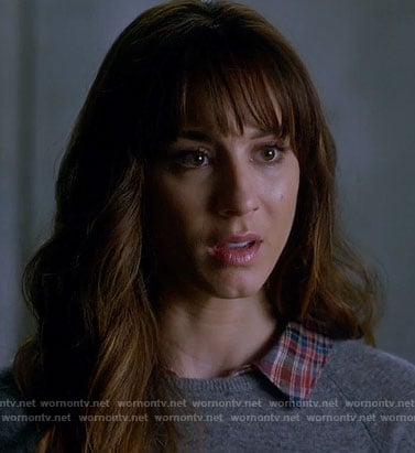 Spencer's grey sweater with red plaid collar on Pretty Little Liars