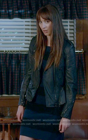 Spencer's blue and black striped dress and leather jacket on Pretty Little Liars