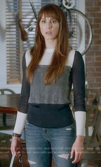 Spencer's colorblock sweater on Pretty Little Liars