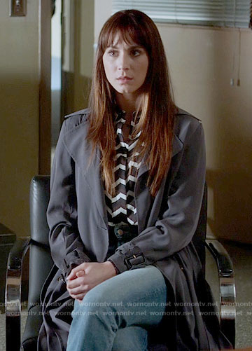 Spencer's chevron striped shirt and grey trench coat on Pretty Little Liars
