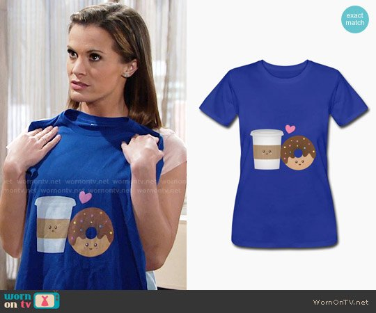 Spreadshirt Cute Coffee and Donut in Love T-shirt in Royal Blue worn by Melissa Claire Egan on The Young & the Restless