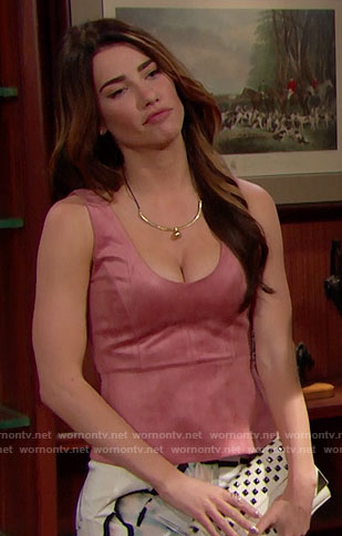 Steffy's pink suede top and white skirt on The Bold and the Beautiful