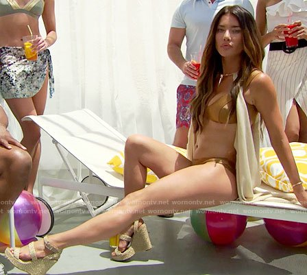 Steffy's gold bikini and wedges on The Bold and the Beautiful