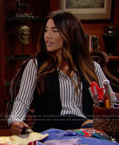 Steffy's striped shirt on The Bold and the Beautiful