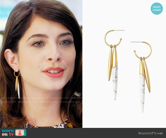 Stella & Dot Quill Drop Earrings worn by Alexis Gleen on Famous in Love
